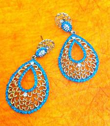 Buy Ethnic jali design in tear drop turquoise firozi stones with diamentes earring h162t gifts-for-girlfriend online