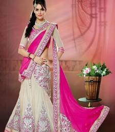 Designer cream and pink lehengha choli with blouse shop online