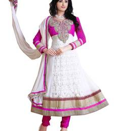 Buy Radiant Pink & White Georgette Embroidered Anarkali salwar suit Material D.No TV703 dress-material online