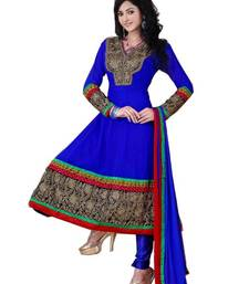 Buy Lovely Dark Blue Georgette Embroidered  Anarkali  Suit Material D.No TV709 dress-material online