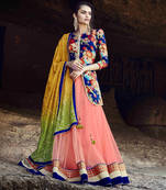 Buy Peach Embroidered Net Semistitched Lehenga Choli With Blouse