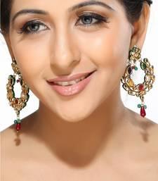 Buy Multicolour Kundan Hoop Earrings hoop online