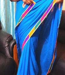 Buy sky blue magic georgette-saree online