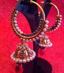 Buy Red green pearl diamentes bali jhumka with exquisite golden finish v339rg gifts-for-sister online
