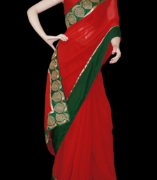 Buy classic red green georgette-saree online