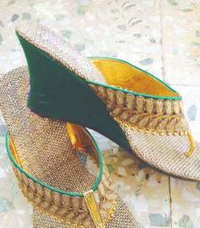 Buy green plain jute footwear wedges-shoe online