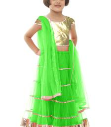 Buy Green net plain kids lehenga kids-lehenga-choli online
