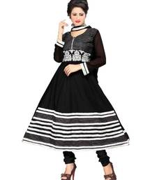 Buy Lovely Black Semi-Stitched Cotton Embroidered Anarkali Suit with Chiffon Dupatta D.No BA8609 dress-material online