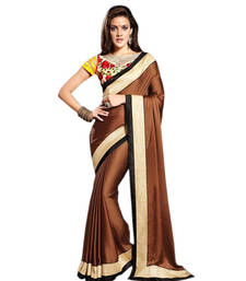 Buy Brown embroidered Chiffon saree With Blouse wedding-saree online