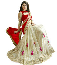 Buy Red and White embroidered georgette and Net saree With Blouse wedding-saree online