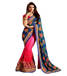 Buy Pink and Blue embroidered Georgette and Net  saree With Blouse wedding-saree online