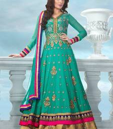 Green georgette embroidered semi stitiched salwar with dupatta shop online