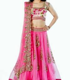 Buy Pink net embroidered  Semi-stitched lehenga choli pakistani-lehenga online