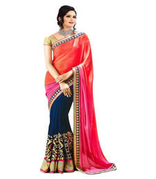 Buy Pink and Orange printed Chiffon saree With Blouse wedding-saree online