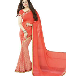 Buy Orange printed georgette saree With Blouse ayesha-takia-saree online