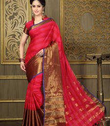 Buy Red and Bronze printed cotton saree With Blouse cotton-saree online