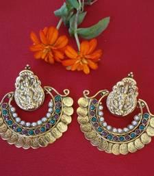 Buy Ramleela Style Laxmi Coin Earrings - Ruby & Emerald valentine-gift online