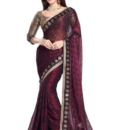 Buy brown printed brasso saree With Blouse brasso-saree online