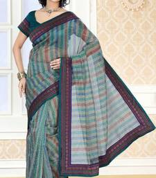 Buy Greenish multi color net checks pattern designer saree with blouse net-saree online