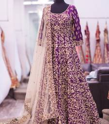 Buy Purple art silk embroidered semi stitched salwar with dupatta anarkali-salwar-kameez online