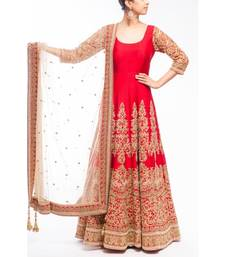 Buy Red art silk embroidered semi stitched salwar with dupatta anarkali-salwar-kameez online