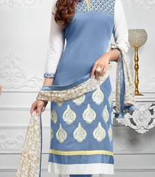 Buy Skyblue and white embroidered cotton unstitched salwar with dupatta cotton-salwar-kameez online
