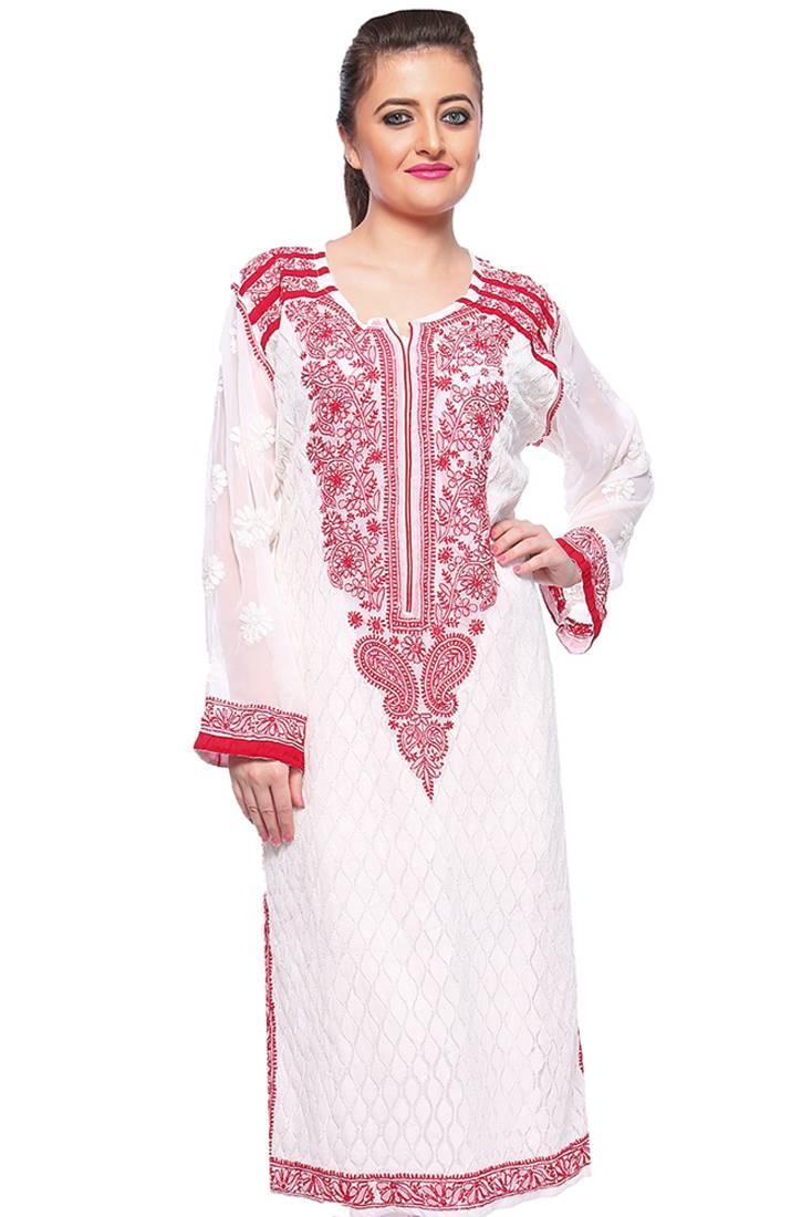 Buy Ada White Faux Georgette Embroidered Lucknow Chikankari Kurti Online