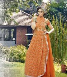 Buy Orange georgette embroidered semi stitiched party wear gown party-wear-gown online
