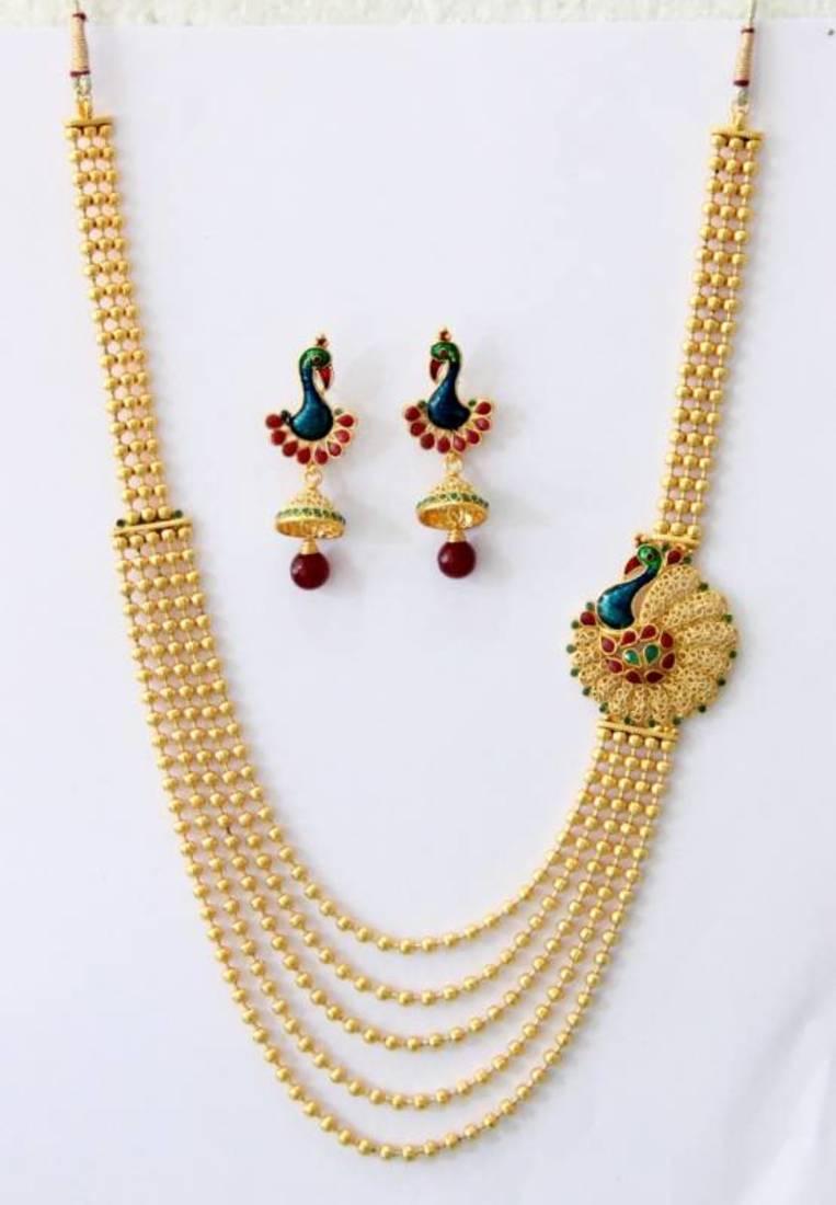 Buy Antique Golden Peacock Design Side Piece Necklace Set