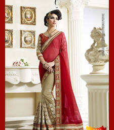 Buy Red embroidered net saree With Blouse designer-embroidered-saree online