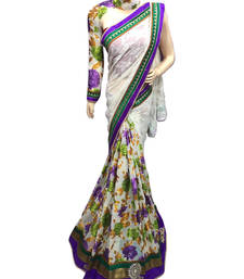 Buy multicolor printed brasso saree with blouse brasso-saree online