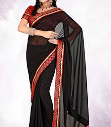 Buy Latest Party Wear Black Color Faux Chiffon Saree with Blouse chiffon-saree online
