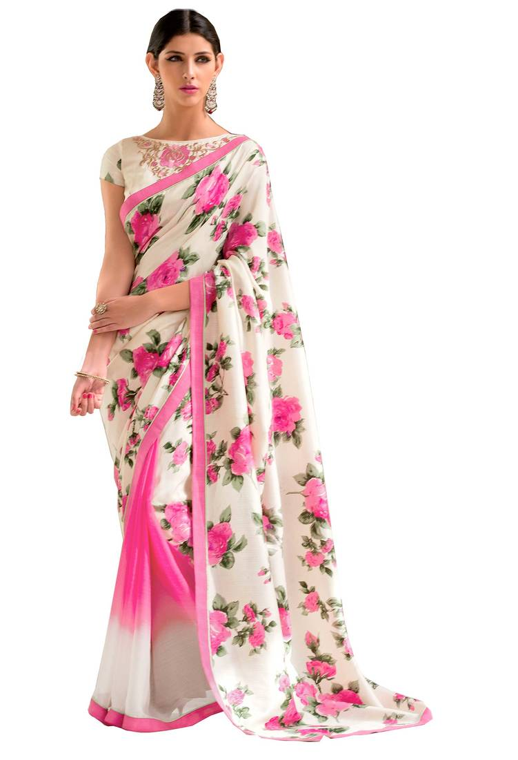 Buy White With Pink Floral Printed Georgette Saree With