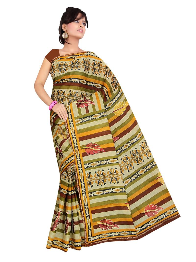 Buy Multicolor Embroidered Cotton Saree Online