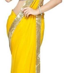Buy yellow plain faux georgette saree With Blouse georgette-saree online
