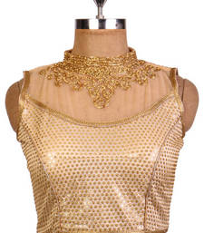 Buy Golden brocade net embroidered party wear readymade padded stitched blouse bridal-blouse online