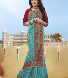 Buy sky blue hand woven pure viscose saree With Blouse heavy-work-saree online