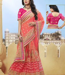 Buy peach hand woven net saree With Blouse heavy-work-saree online