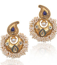 Buy Blue stones chandni pearl polki royal earring,ethnic india women jewelry v573b anniversary-gift online
