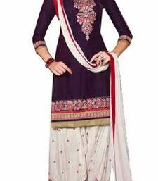 Buy Purple embroidered cotton semi stitched salwar with dupatta cotton-salwar-kameez online