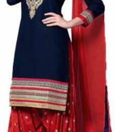 Buy Blue cotton embroidered semi stitiched salwar with dupatta cotton-salwar-kameez online