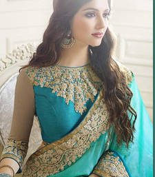 Buy teal embroidered georgette saree With Blouse designer-embroidered-saree online