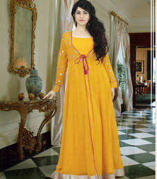 Buy Yellow georgette embroidered party wear gown readymade-suit online