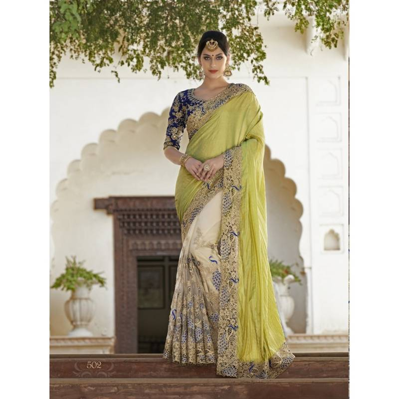 Buy Lemon Embroidered Faux Georgette Saree With Blouse Online
