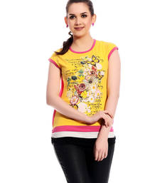 Yellow printed Cotton tops shop online