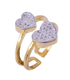 Buy A New Romantic Heart Shape Cubic Zirconia White Cololur Stones Ring With Gold Plated Ring online