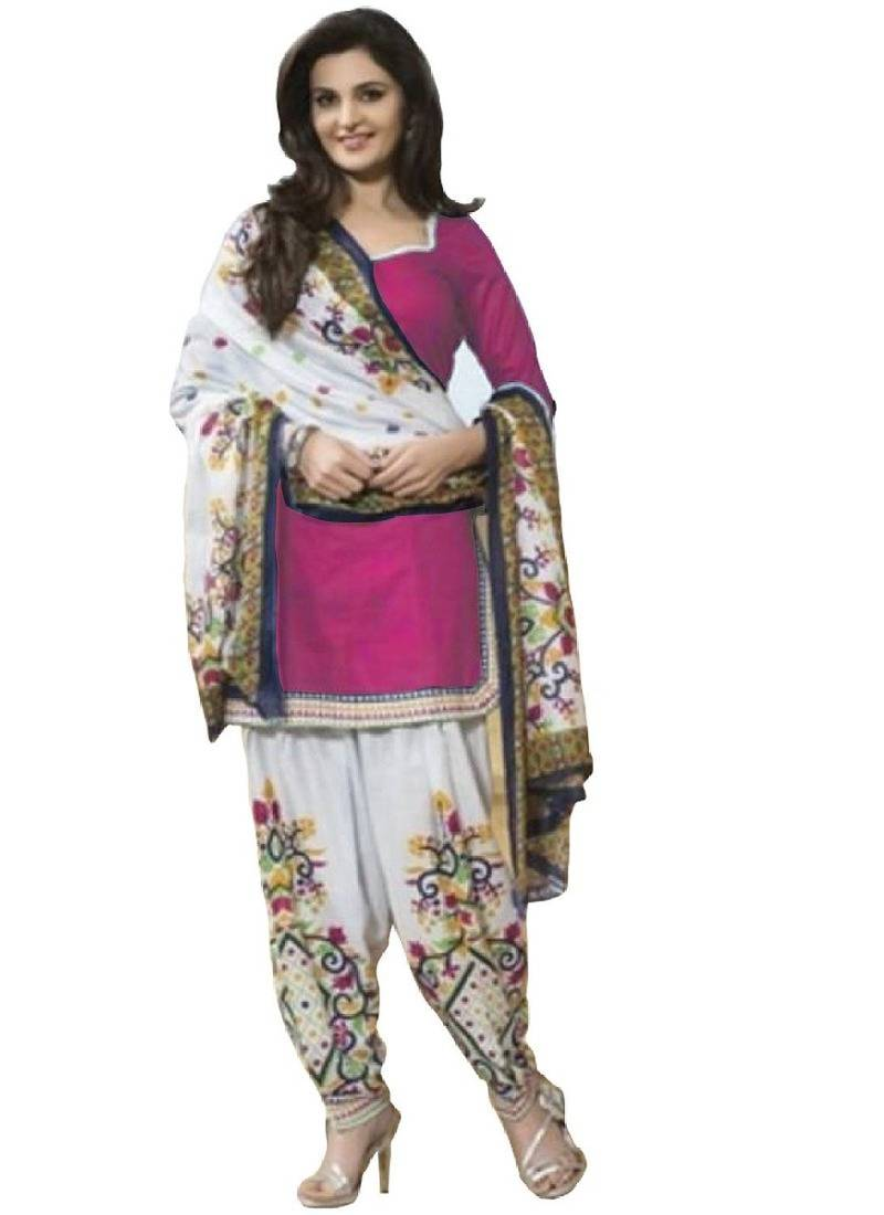 Buy Pink Printed Polyester Unstitched Salwar With Dupatta