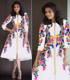 Buy White Georgette embroidered kurti georgette-kurti online