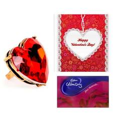 Valentine Heart Combo- Red Heart Ring, Greeting Card and Cadbury Celebrations Pack shop online