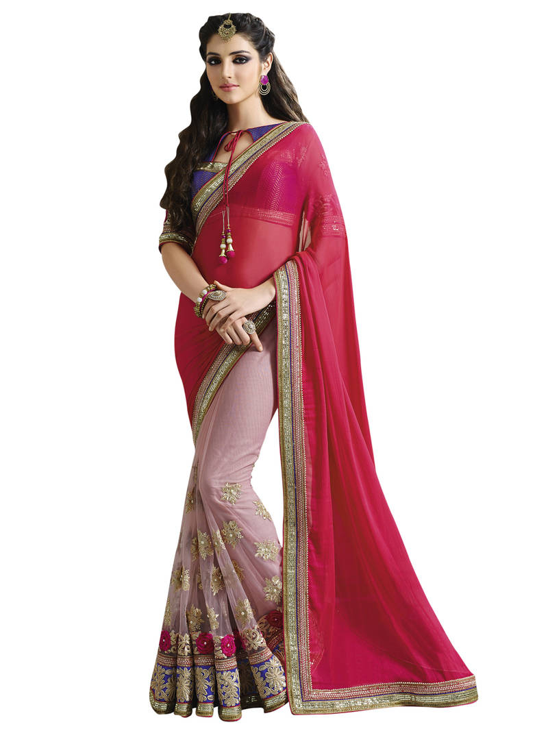 Buy Anjali Pink Embroidered Chiffon Saree With Blouse Online